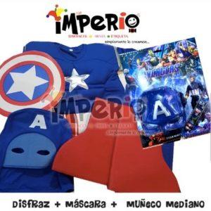 Disfraz de Capitan America musculos más mascara y juguete